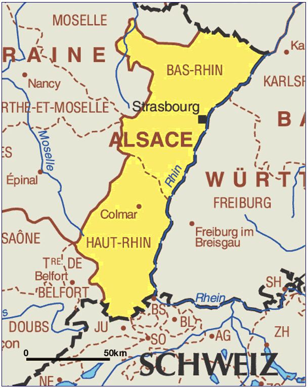 map of alsace france region