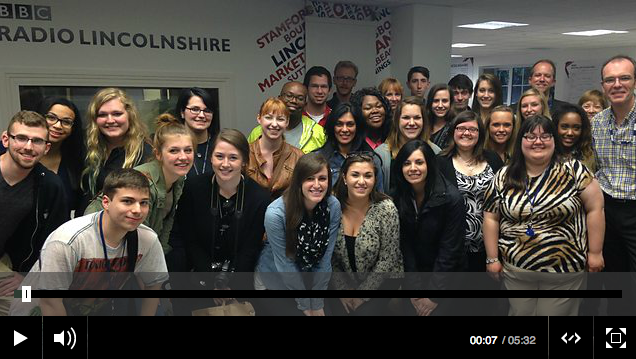 Study Abroad Students at BBC Radio Lincolnshire. Click to hear the students interviewed live on the air.