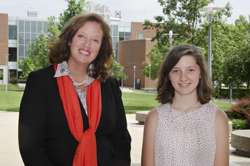 UC Blue Ash Dean, Dr. Cady Short-Thompson, with free tuition winner Rebecca Bauscher